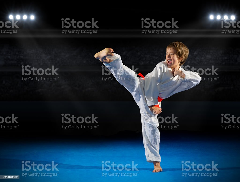 Little boy martial arts fighter stock photo