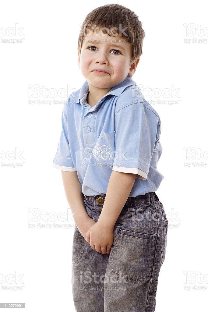 Little boy need a pee stock photo