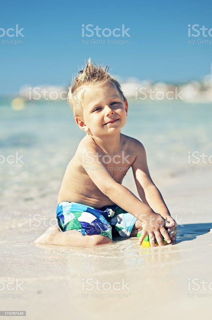 Little boy on a beach. royalty-free stock photo