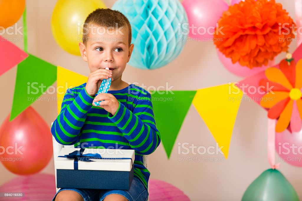Little boy on a party stock photo