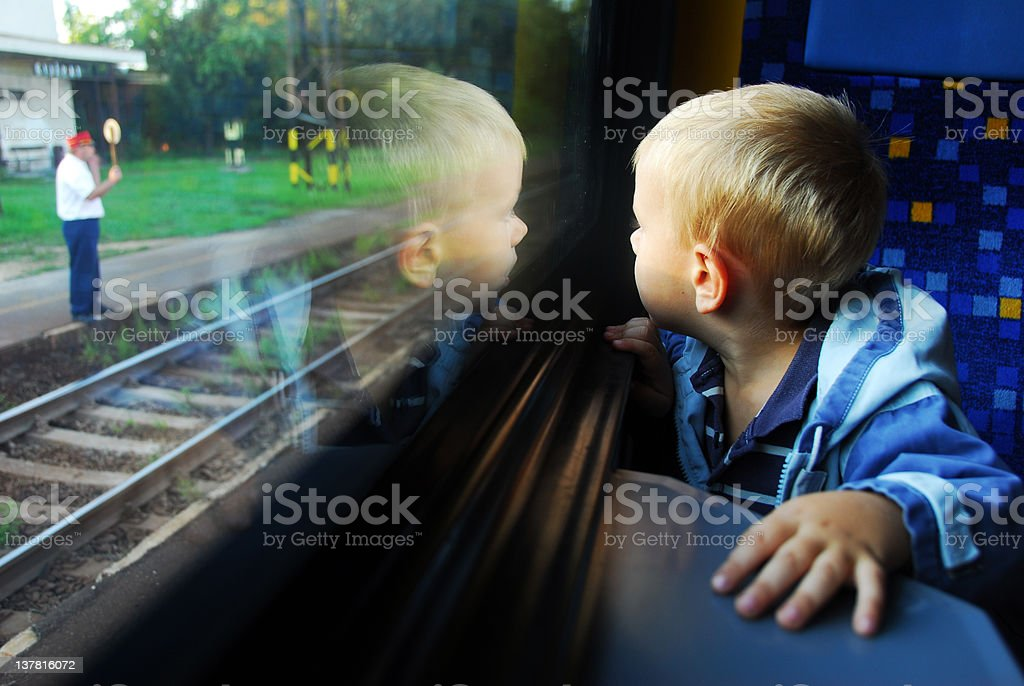little boy on a train royalty-free stock photo