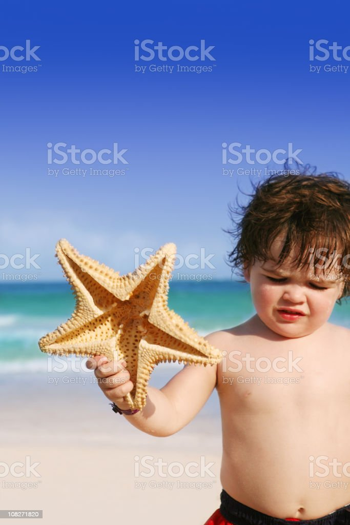 Little Boy on Beach Holding Starfish royalty-free stock photo