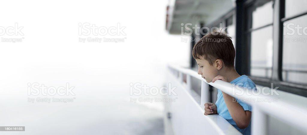 Little boy on cruise ship royalty-free stock photo