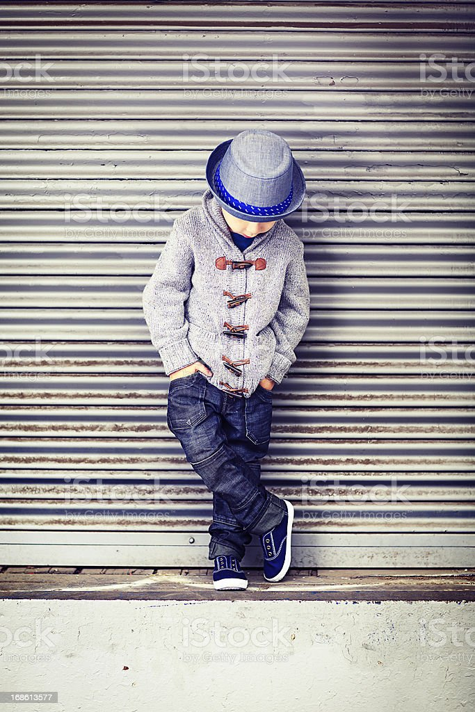Little Boy on Loading Dock royalty-free stock photo
