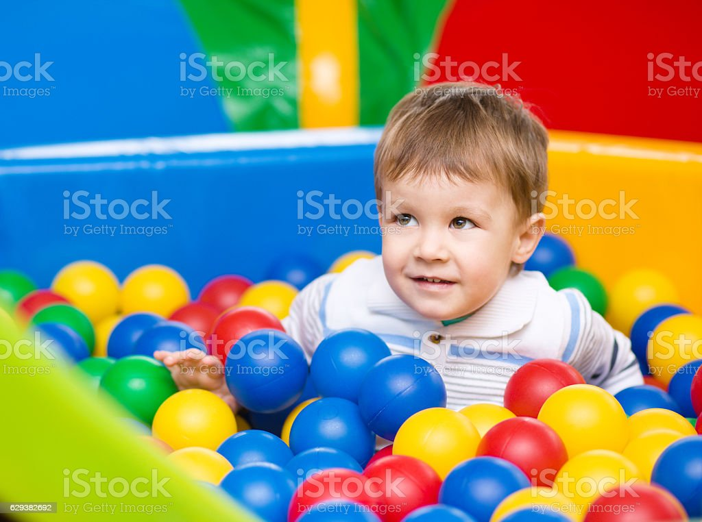 Little boy on playground stock photo