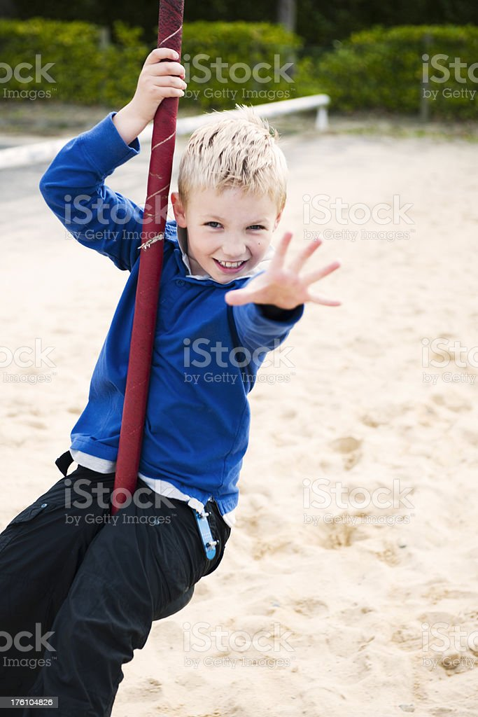 "little boy on ""flying fox"" royalty-free stock photo"