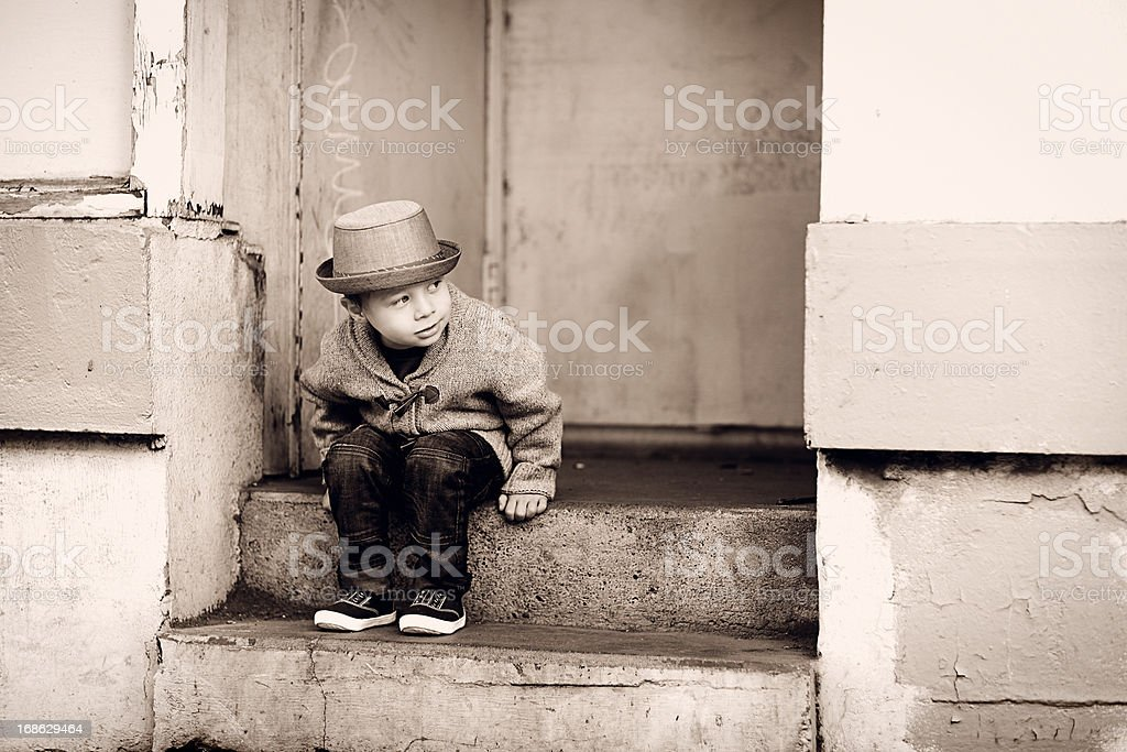 Little Boy on Steps royalty-free stock photo