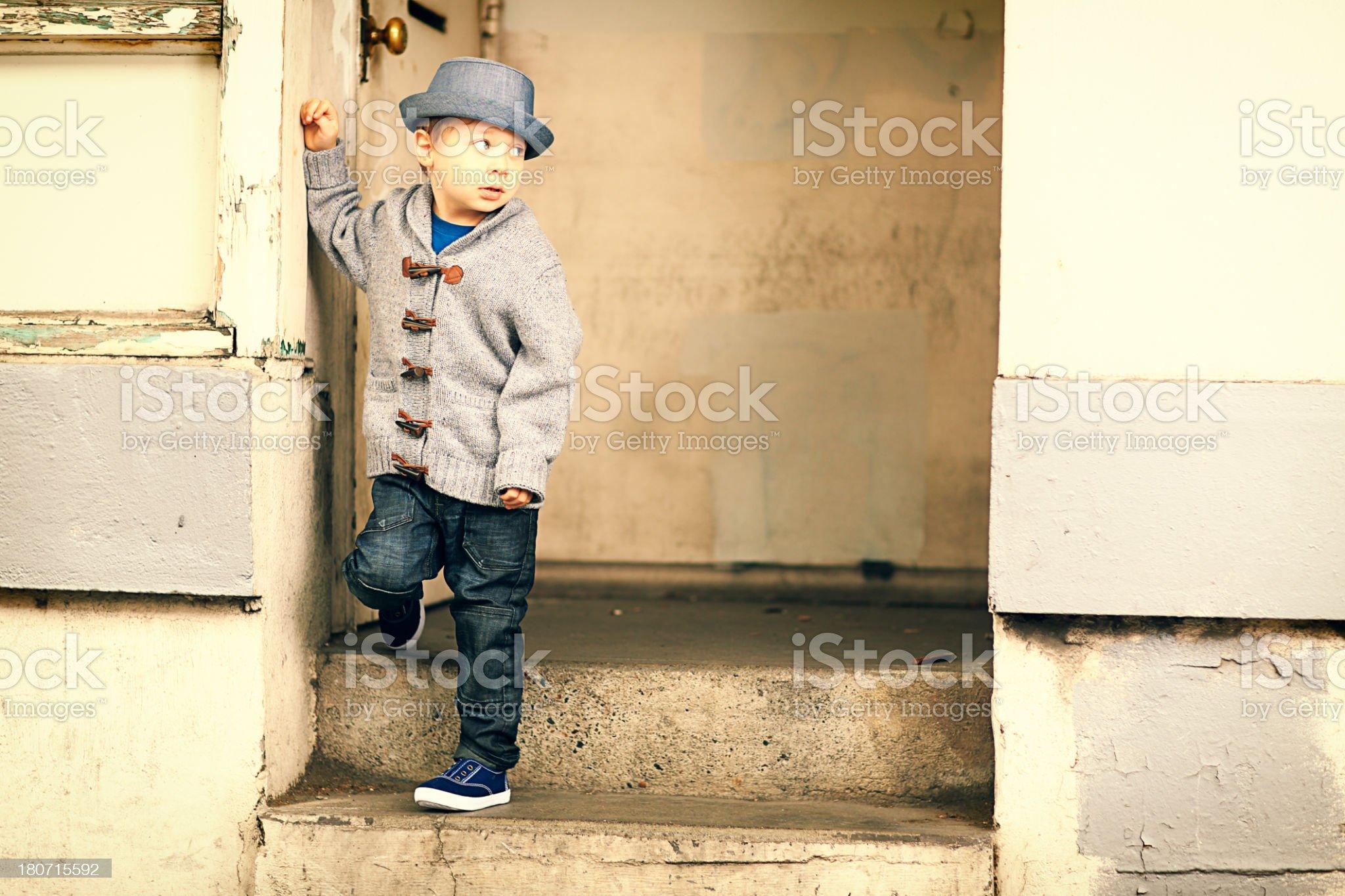 Little Boy on Steps royalty-free stock photo