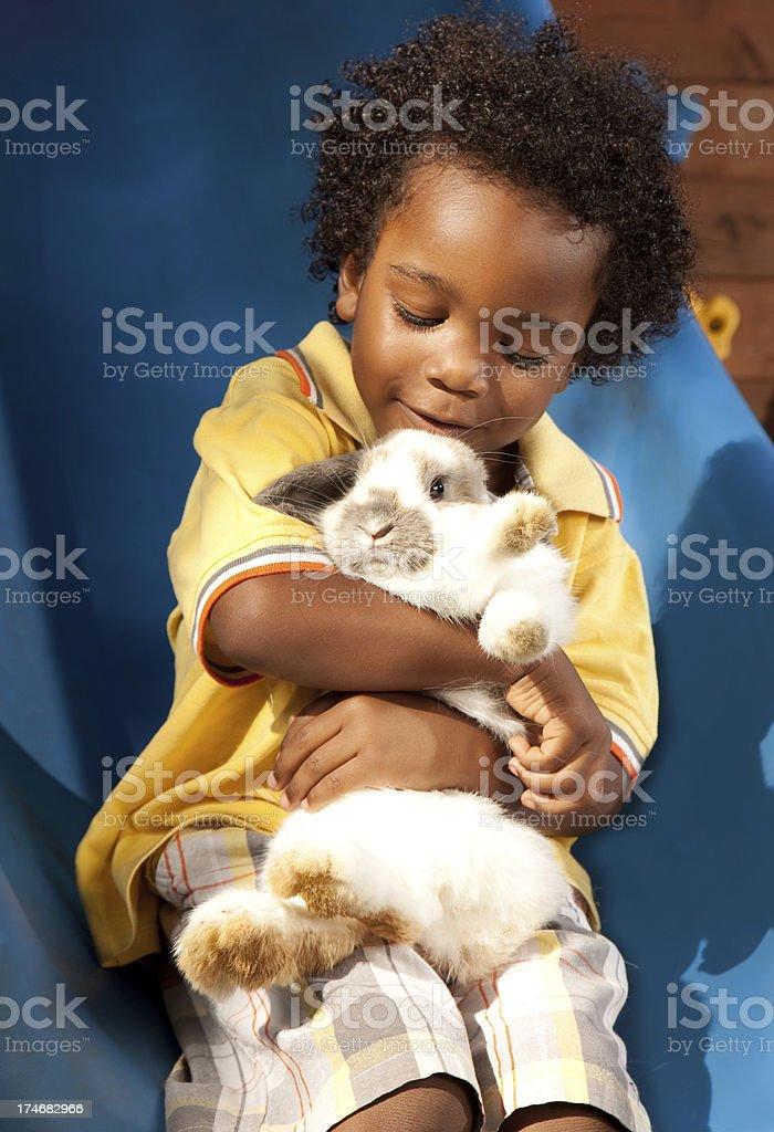 Little Boy & Pet stock photo