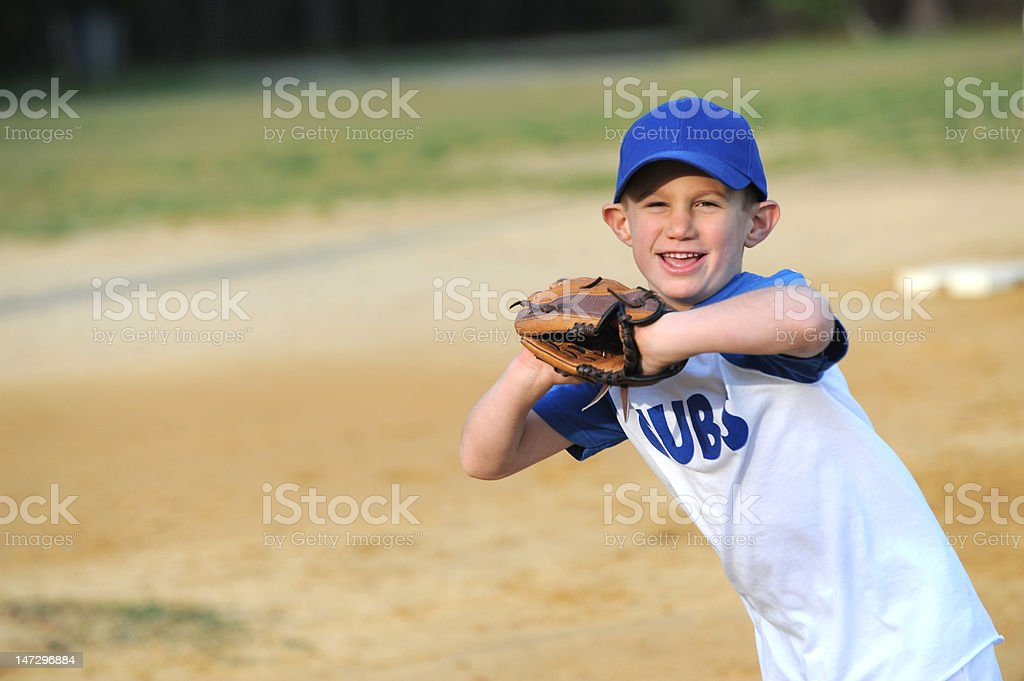 Little Boy Playing T-Ball stock photo