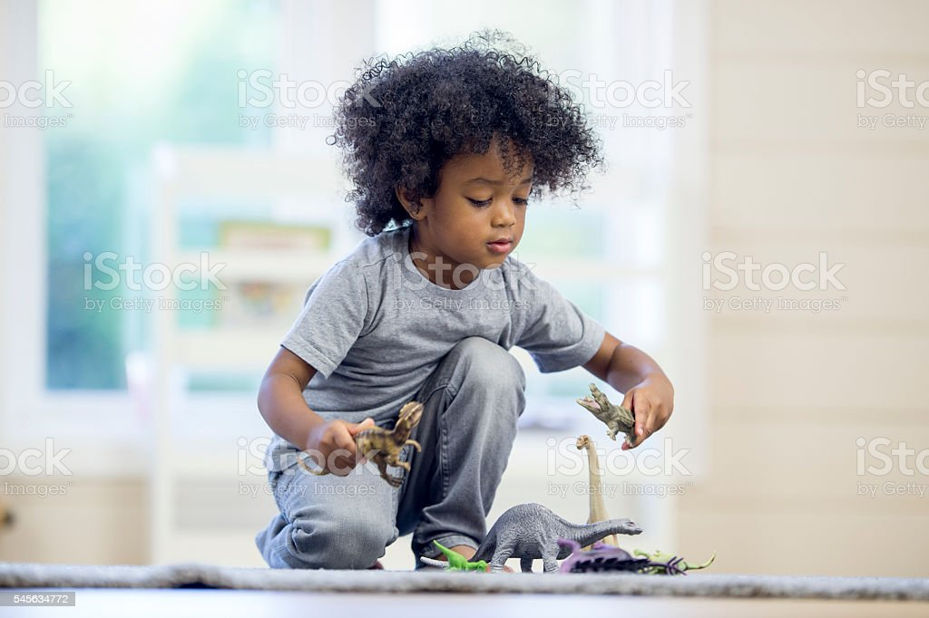 Little Boy Playing with Dinosaurs stock photo