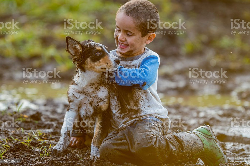 Little Boy Playing with His Puppy stock photo