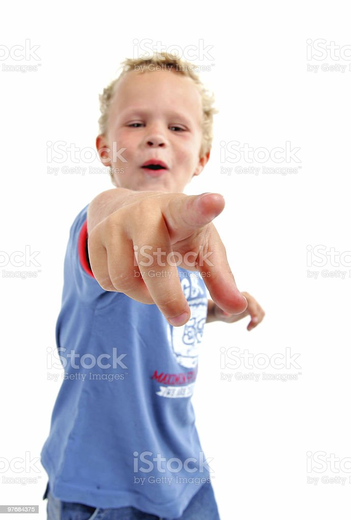 little boy pointing (focus on hand) royalty-free stock photo