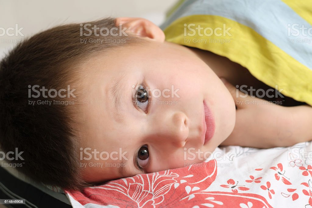 Little boy portrait preparing to sleep stock photo