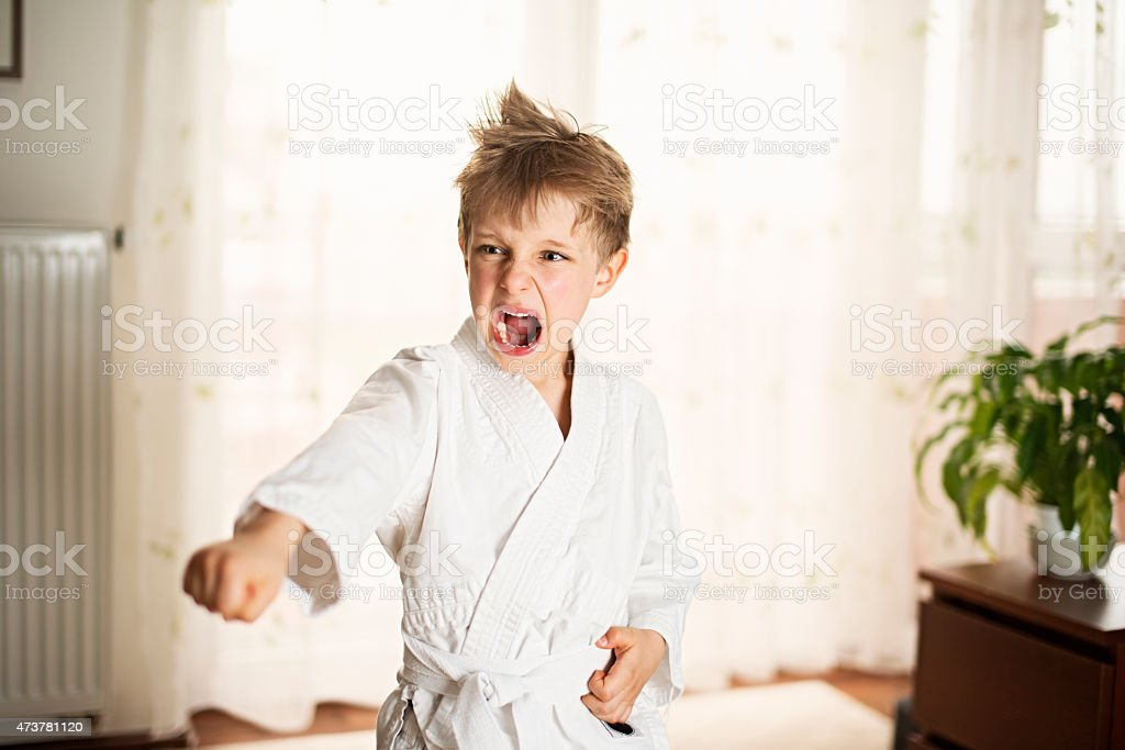 Little boy practicing karate at home stock photo