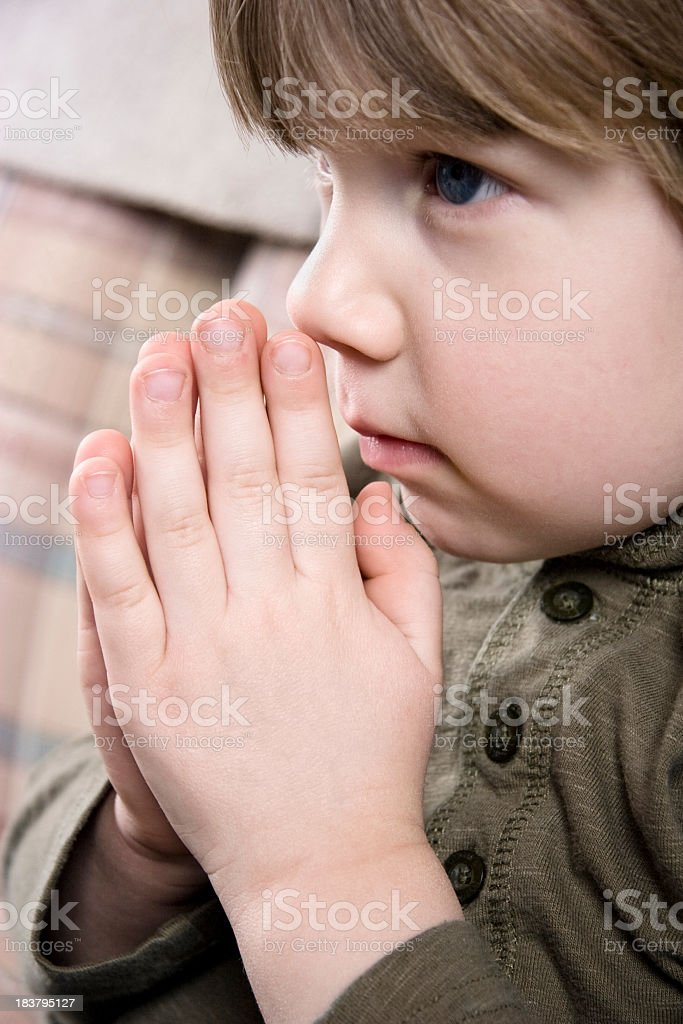 Little Boy Praying royalty-free stock photo