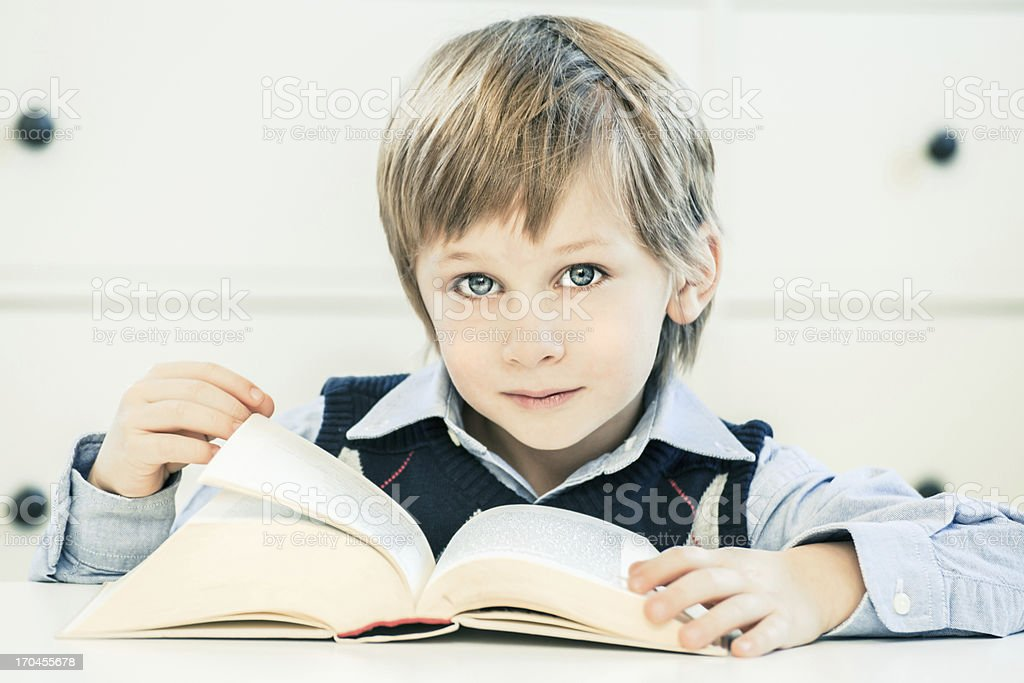 Little Boy Reading a Book royalty-free stock photo