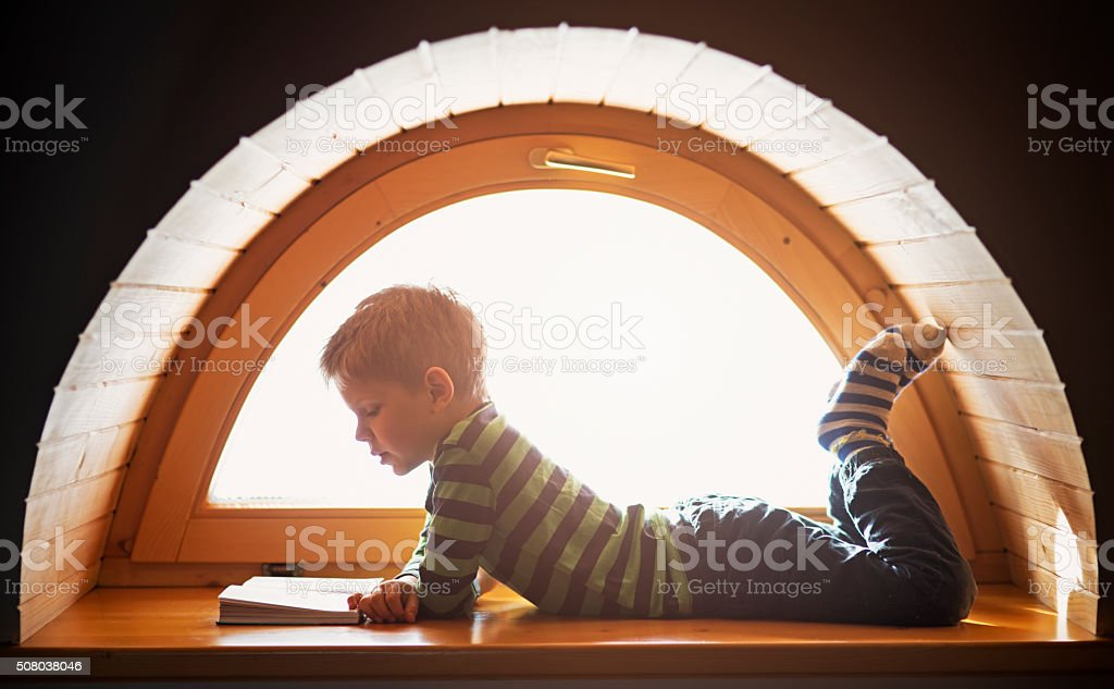 Little boy reading by the window stock photo