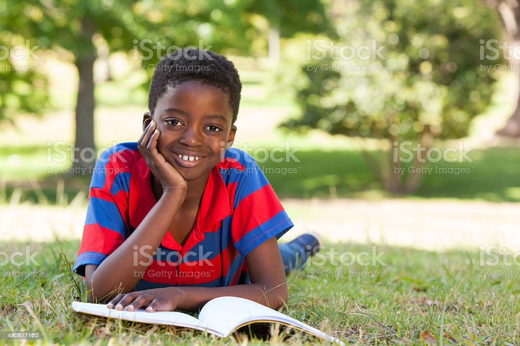 Little boy reading in the park stock photo