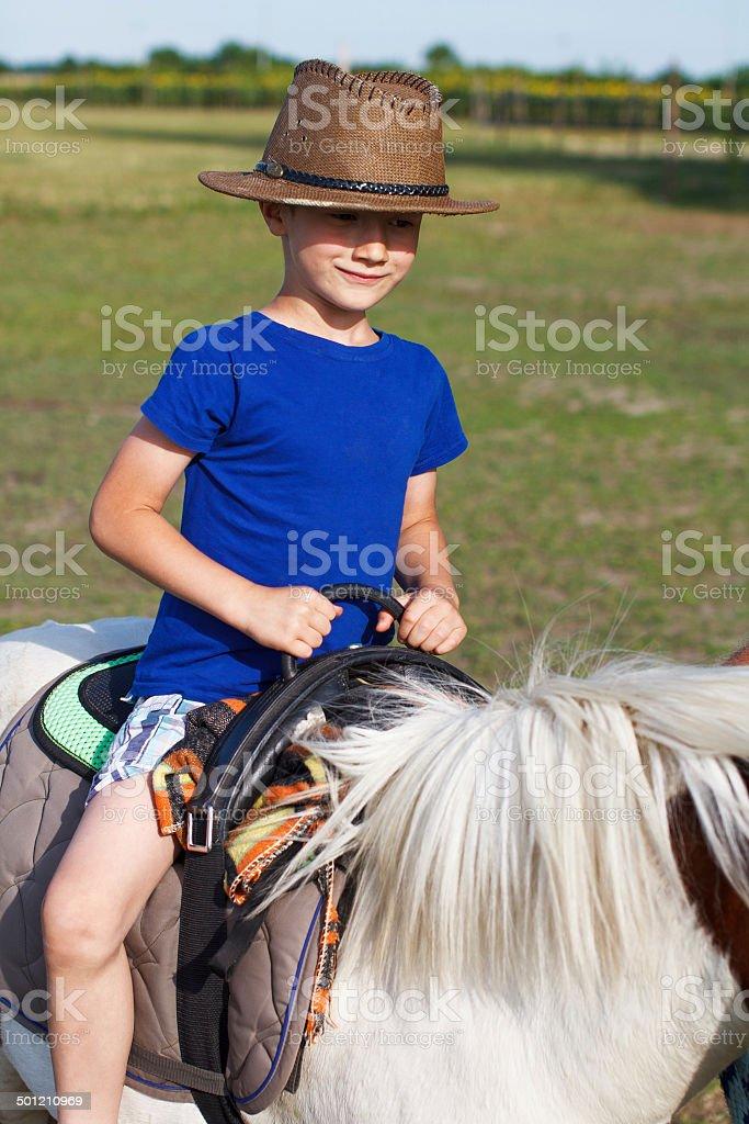 Little boy ride on pony royalty-free stock photo