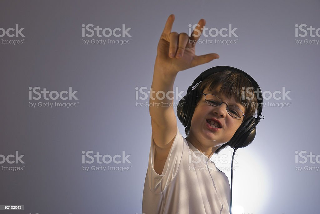 Little Boy Rocking Out stock photo