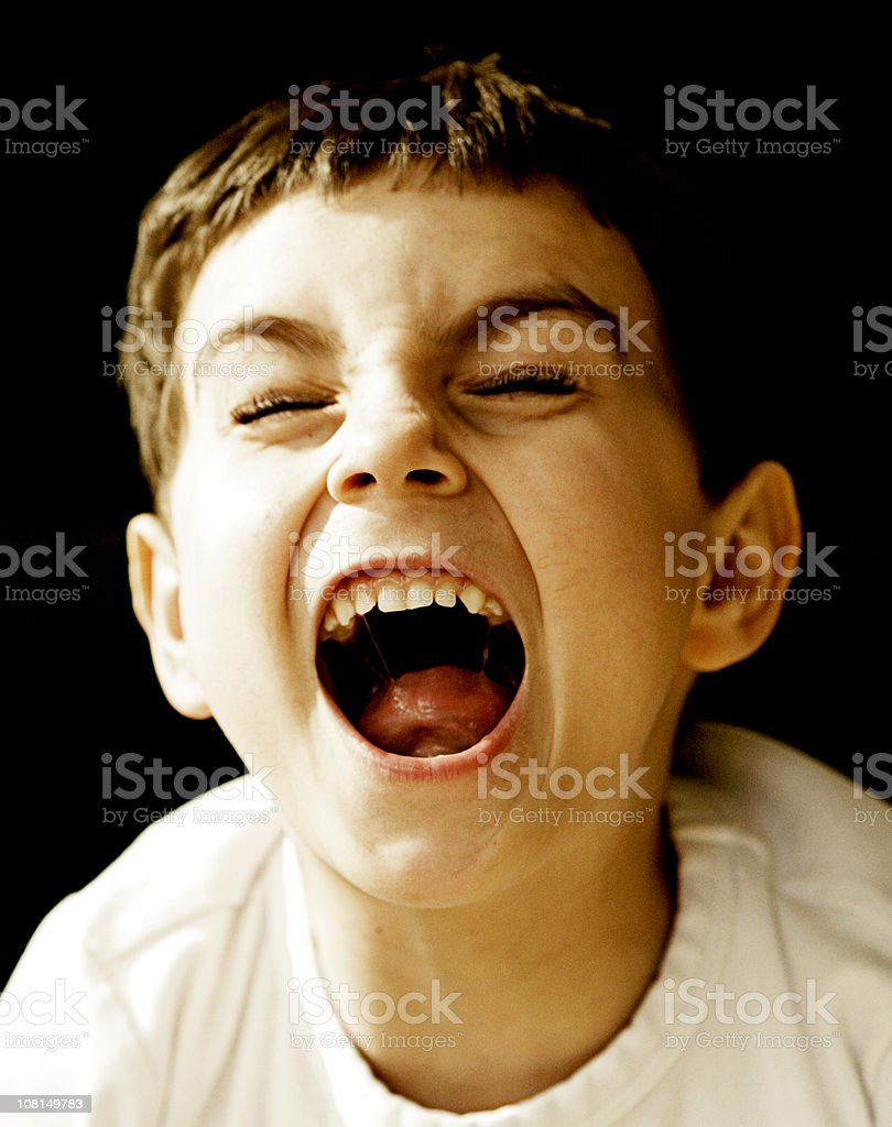 Little Boy Screaming royalty-free stock photo