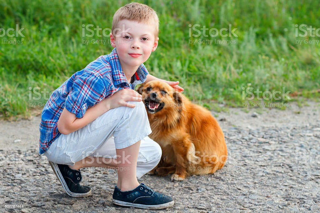 little boy  sitting on the road with a red dog stock photo