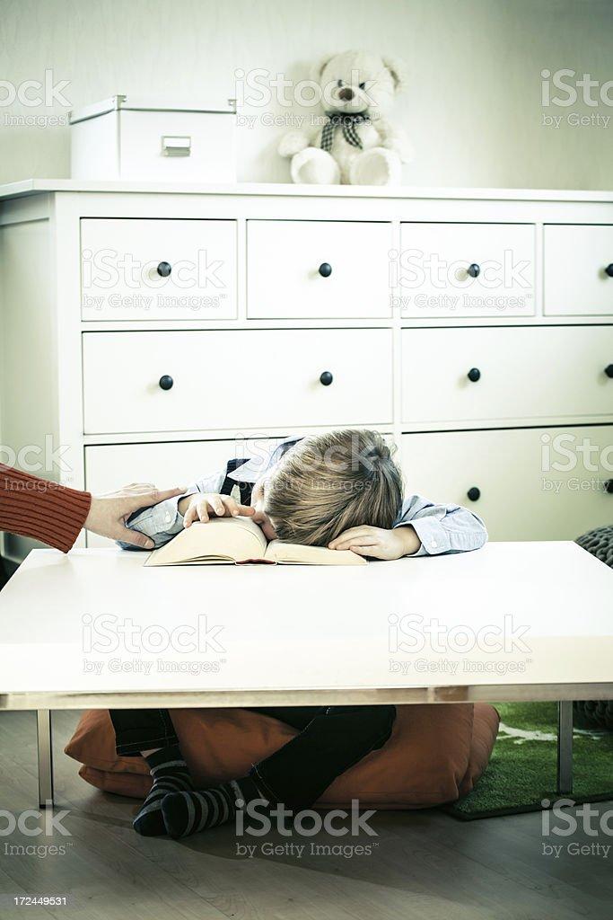 Little Boy sleeping on a Book royalty-free stock photo