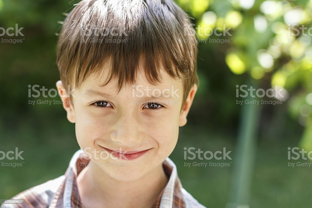 Little boy smile at outdoor royalty-free stock photo