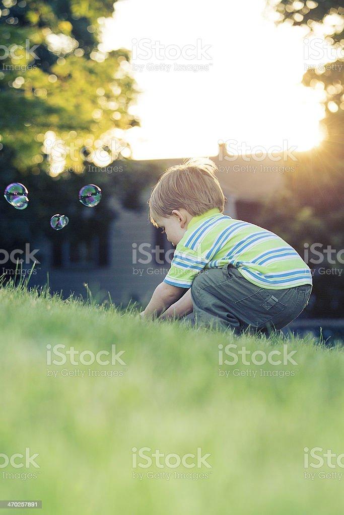 little boy squatting royalty-free stock photo