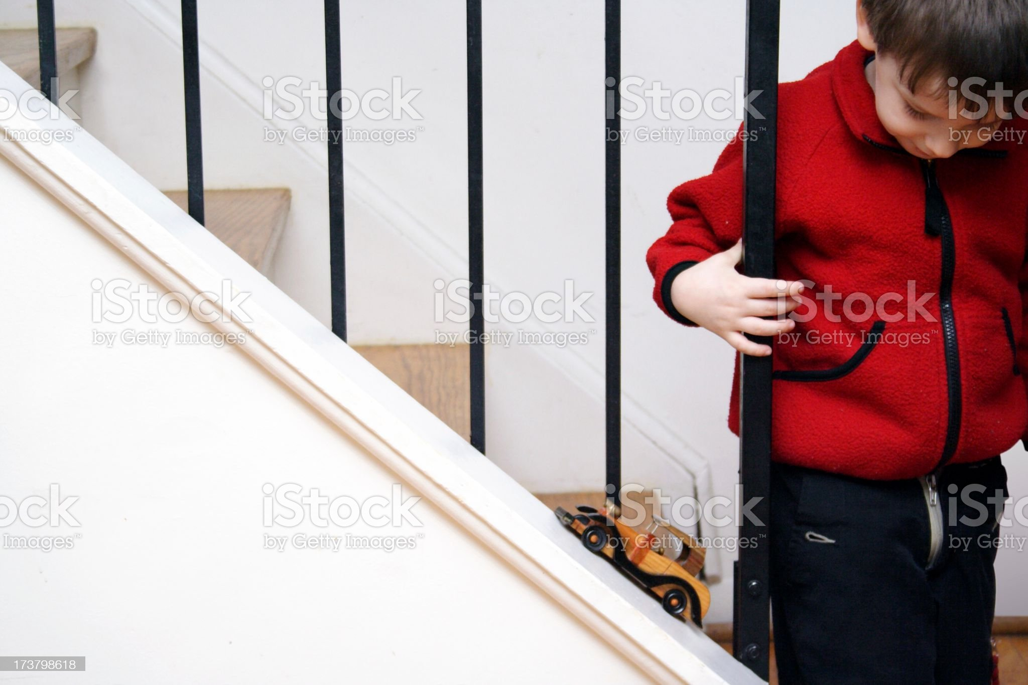 Little Boy, Stairwell and Car royalty-free stock photo
