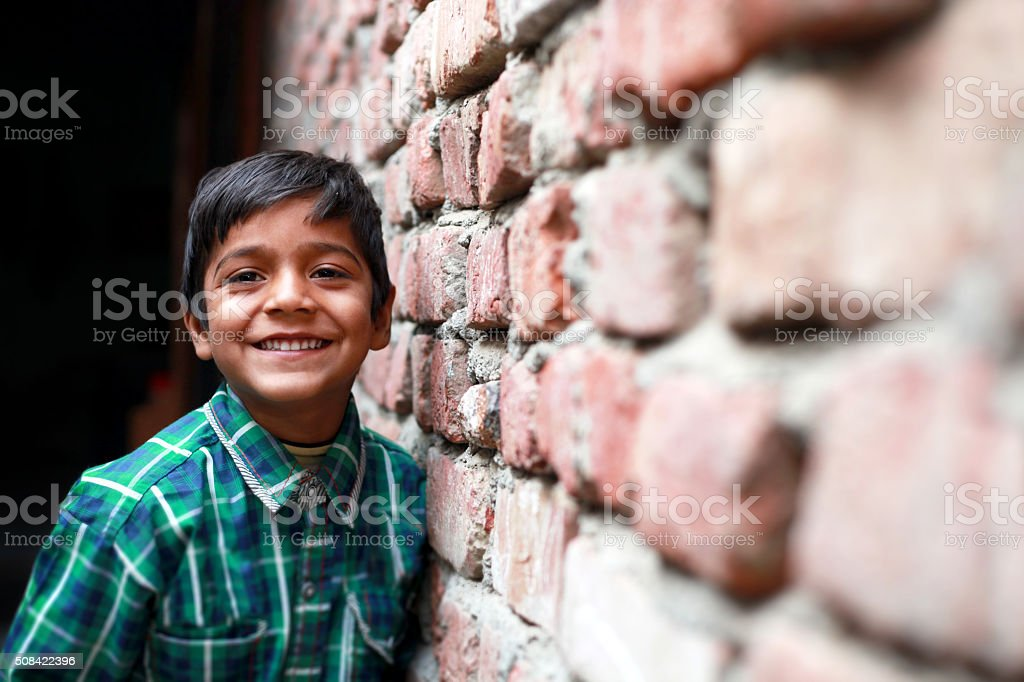 Little Boy Standing Portrait stock photo