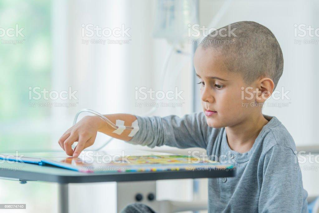 Little Boy Starts Cancer Treatment stock photo
