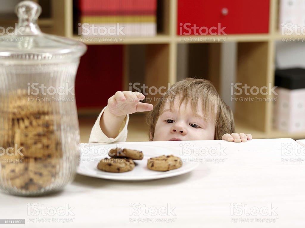 Little boy stealing cookies stock photo