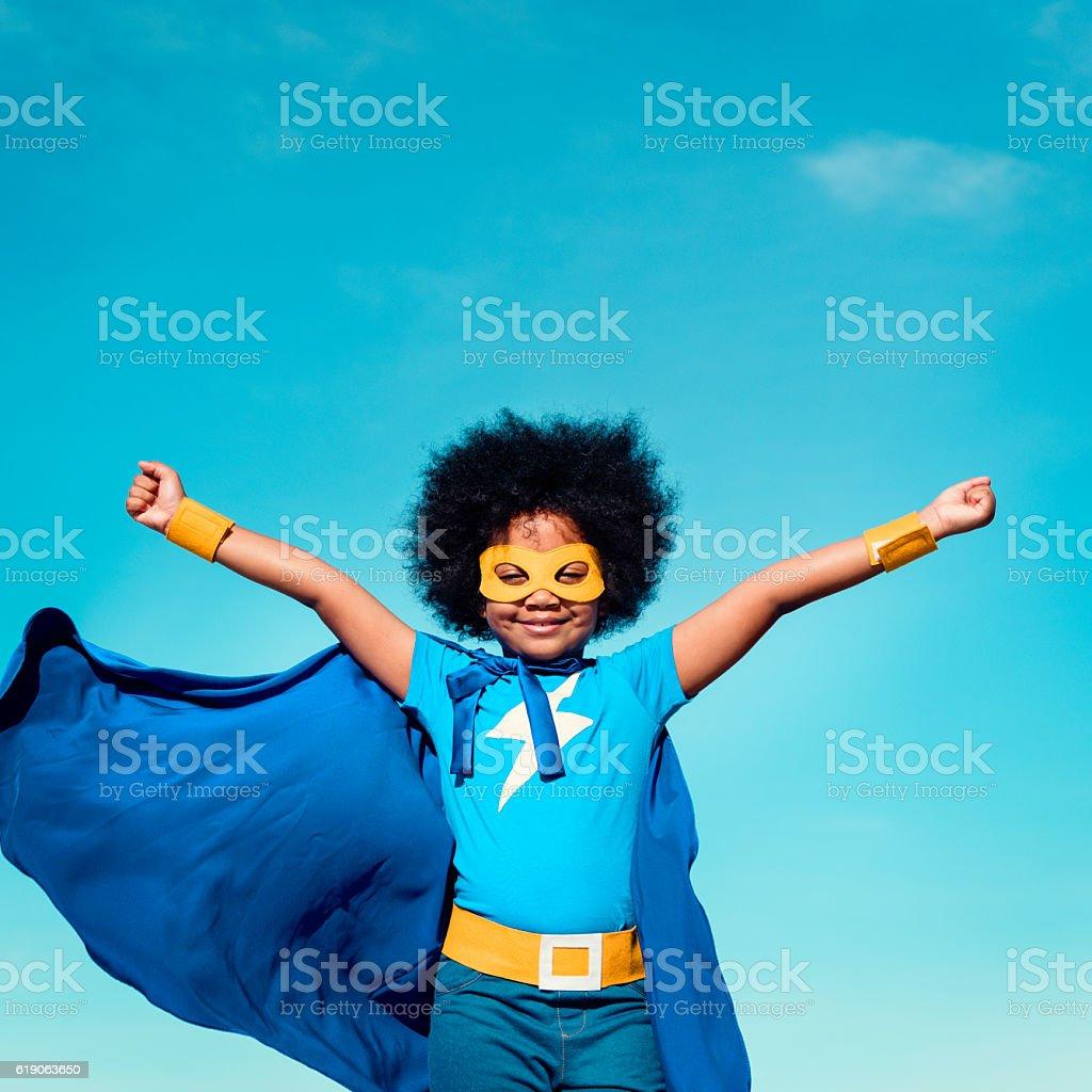 Little Boy Super Hero Concept stock photo