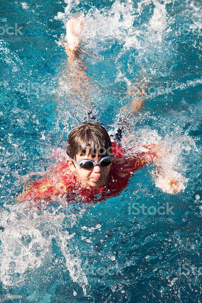 Little Boy Swimming stock photo