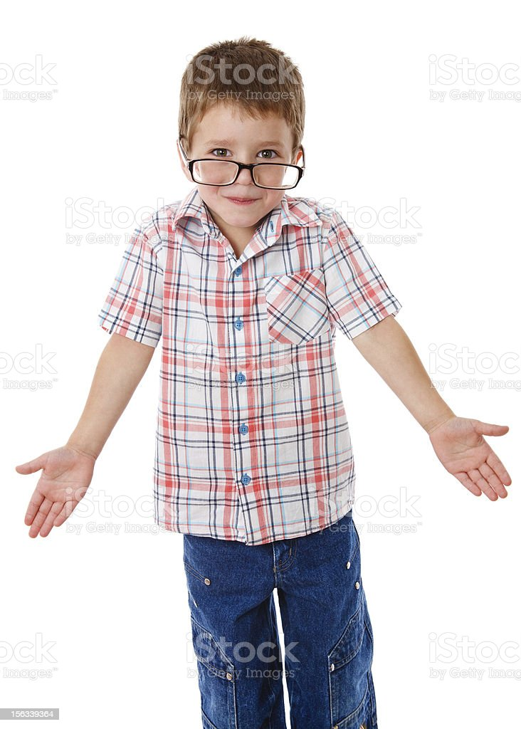 Little boy that shrugging aside royalty-free stock photo