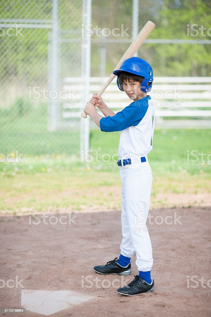 Little Boy Up at Bat stock photo
