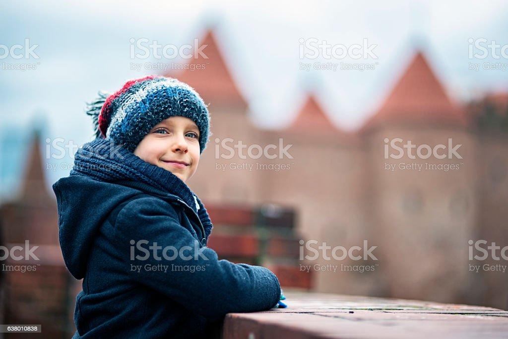 Little boy visiting Warsaw, Poland stock photo