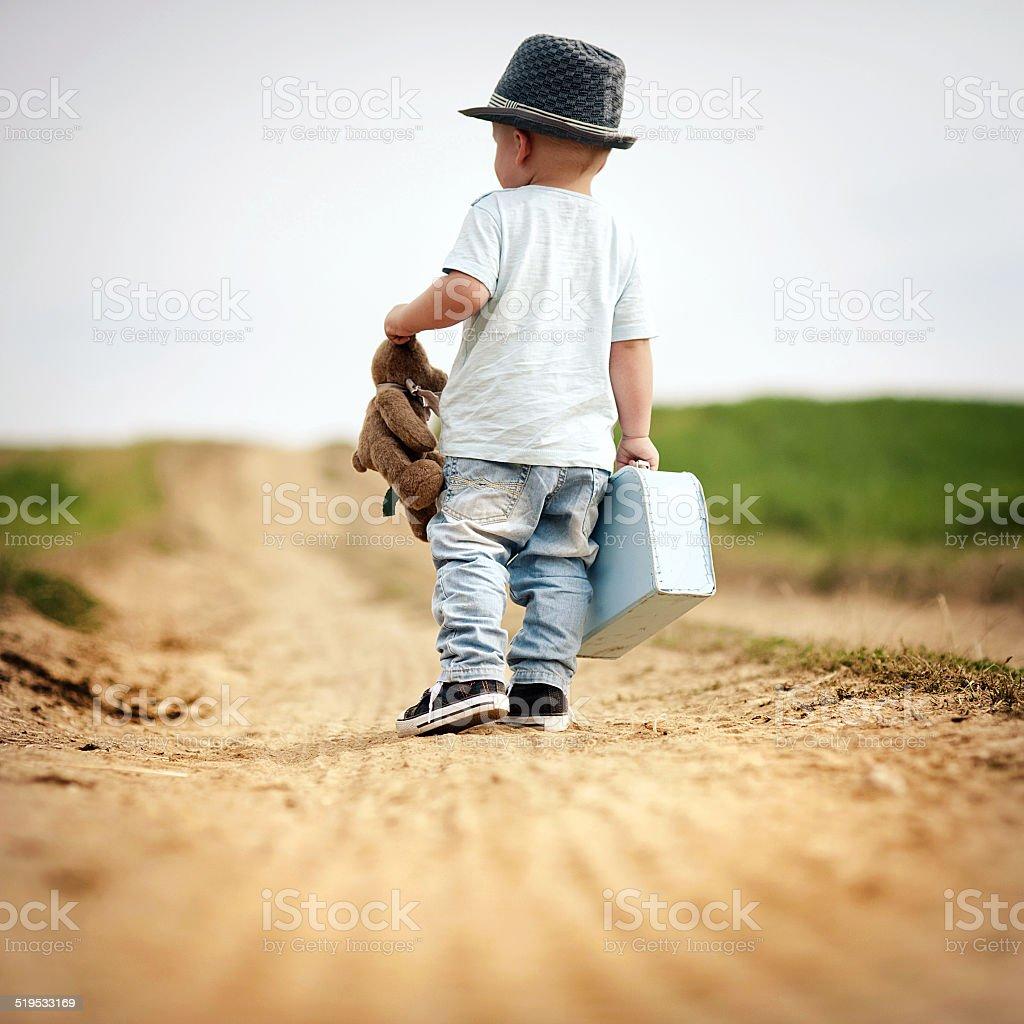 Little boy walking in nature stock photo