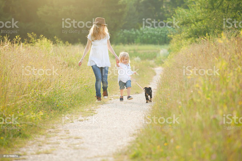 Little boy walking in park with his mother and puppy stock photo