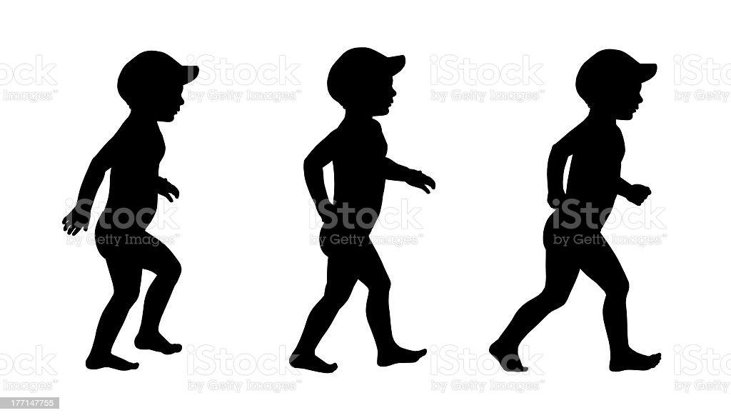 little boy walking on the beach silhouettes set 1 royalty-free stock photo