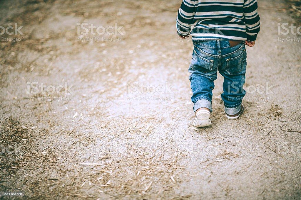 little boy walking stock photo