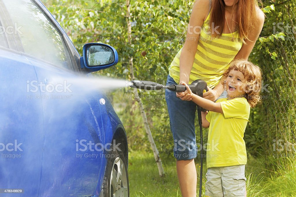 Little boy was the car stock photo