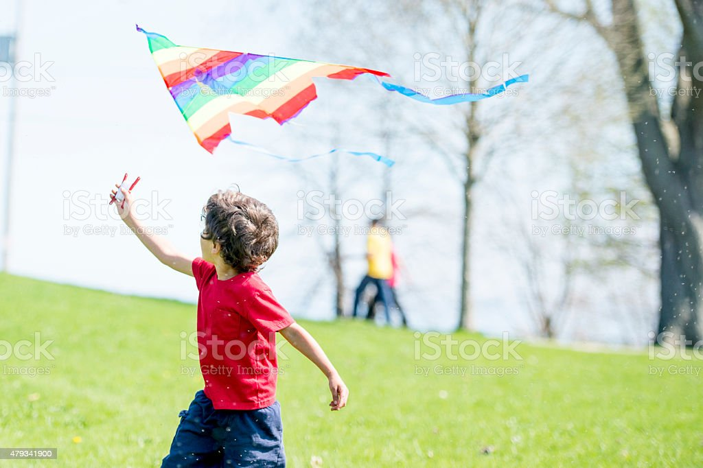 Little Boy Waving Flag at Park stock photo