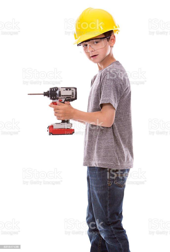 little boy wearing helmet stock photo