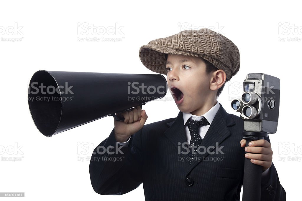 Little boy wearing newsboy cap,, holding camera, Shouting With Megaphone stock photo