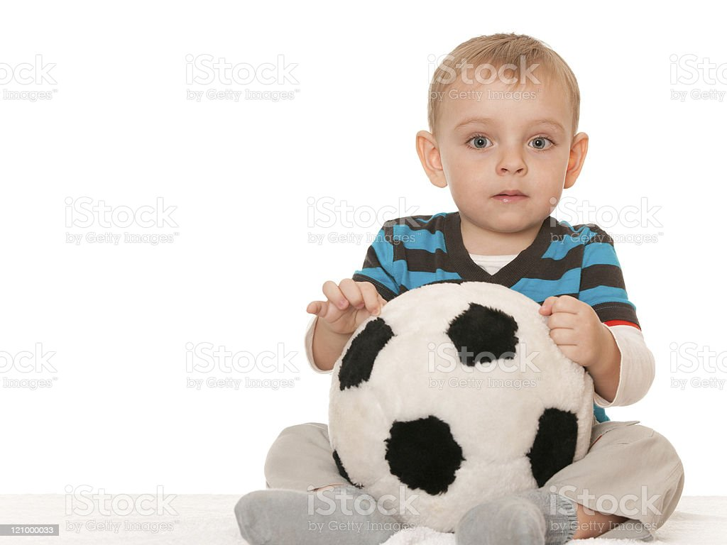 Little boy with a big toy ball royalty-free stock photo