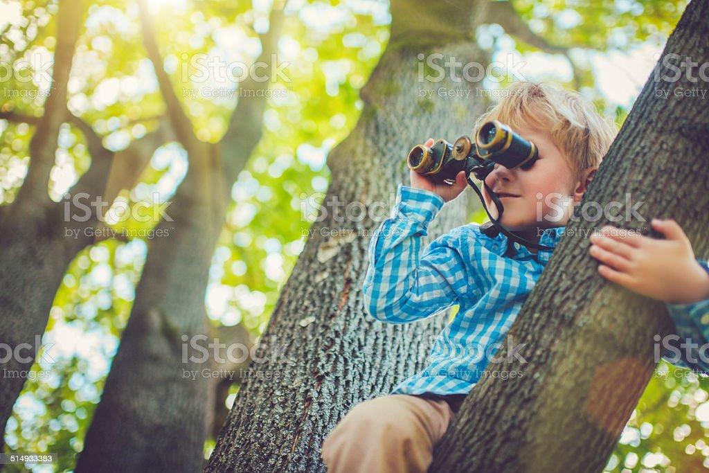 Little boy with a binocular stock photo