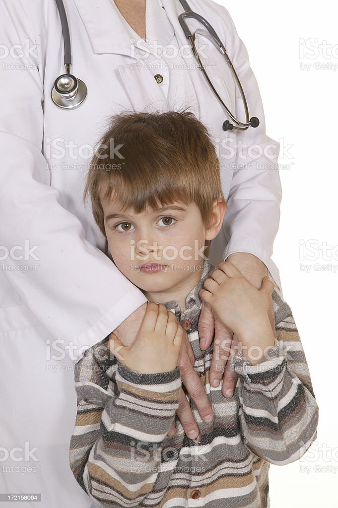 little boy with a doctor or nurse royalty-free stock photo